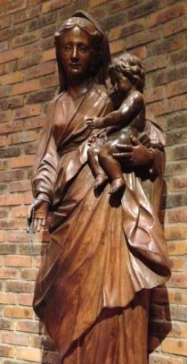 The statue of the Virgin Mary and Baby Jesus at St. George's